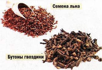 бутоны гвоздики и семена льна